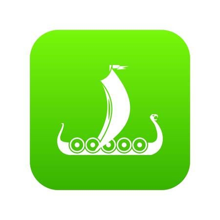 Medieval boat icon digital green for any design isolated on white vector illustration