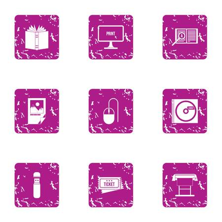 Distraction icons set. Grunge set of 9 distraction vector icons for web isolated on white background