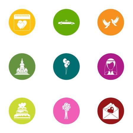 February icons set. Flat set of 9 february vector icons for web isolated on white background Illustration