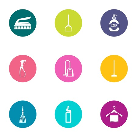 Cleaning staff icons set. Flat set of 9 cleaning staff vector icons for web isolated on white background