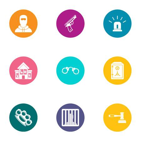 Delinquency icons set. Flat set of 9 delinquency vector icons for web isolated on white background Illustration