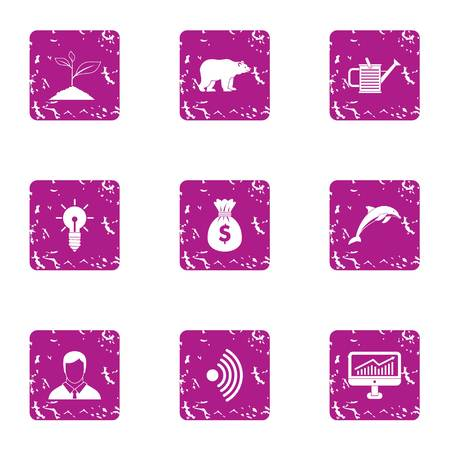 Text income icons set. Grunge set of 9 text income vector icons for web isolated on white background Vecteurs