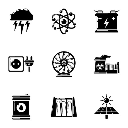 Energy source icons set. Simple set of 9 energy source vector icons for web isolated on white background