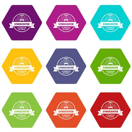 Gyro scooter icons 9 set coloful isolated on white for web Illustration