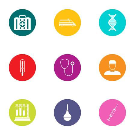 Detailed examination icons set. Flat set of 9 detailed examination vector icons for web isolated on white background
