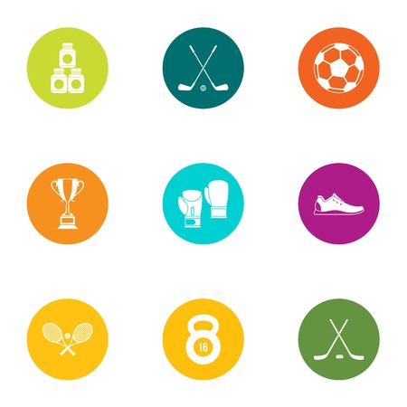 Calisthenics icons set. Flat set of 9 calisthenics vector icons for web isolated on white background