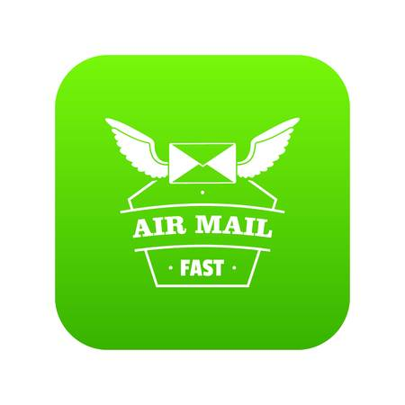 Air mail icon green vector isolated on white background