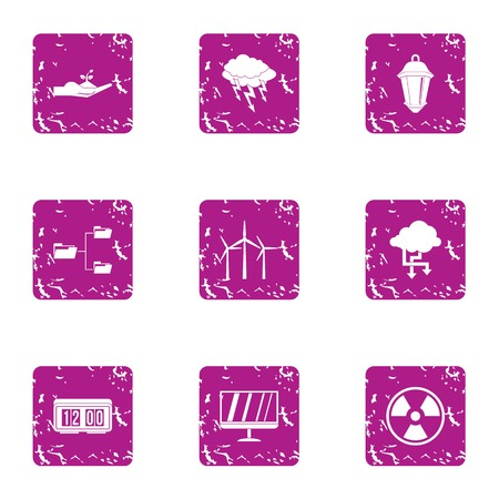 Twist business icons set. Grunge set of 9 twist business vector icons for web isolated on white background Illustration
