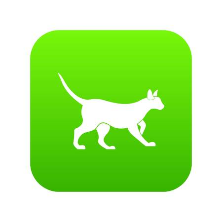 Cat icon digital green for any design isolated on white vector illustration Illustration