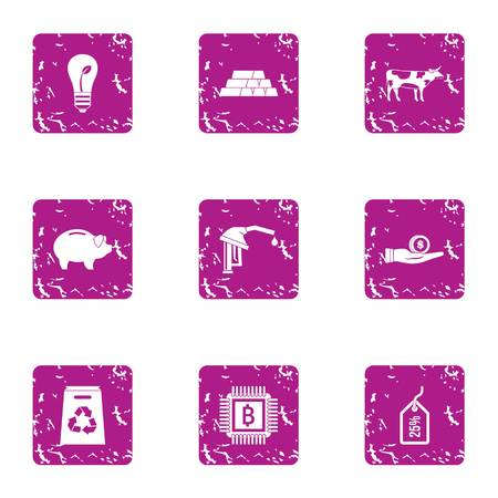 Eco refining icons set. Grunge set of 9 eco refining vector icons for web isolated on white background
