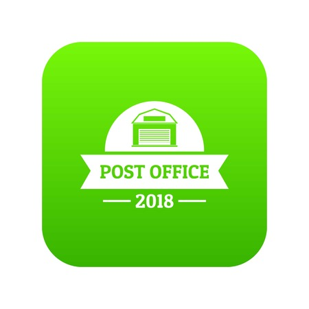 Office post icon green vector isolated on white background Illustration