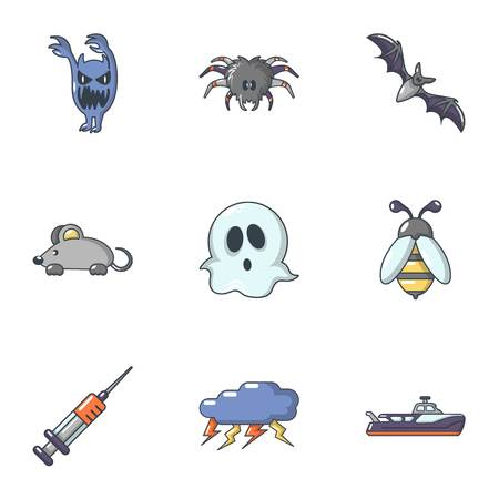 Ghost icons set. Cartoon set of 9 ghost vector icons for web isolated on white background Illustration