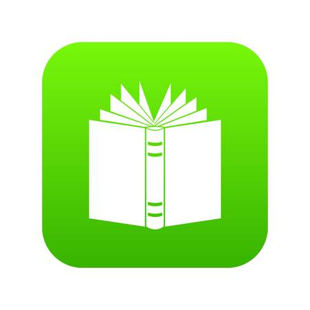 Open thick book icon digital green for any design isolated on white vector illustration