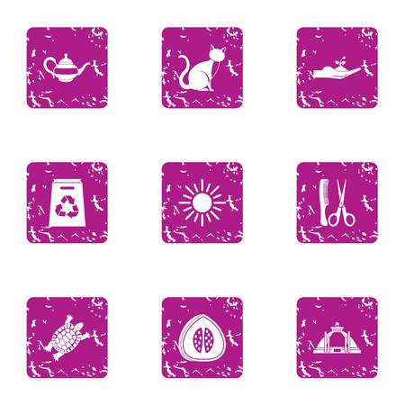 Clean earth icons set. Grunge set of 9 clean earth vector icons for web isolated on white background Illustration