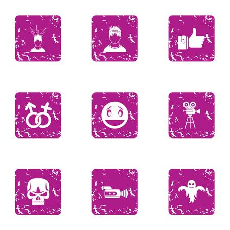 Scary period icons set. Grunge set of 9 scary period vector icons for web isolated on white background
