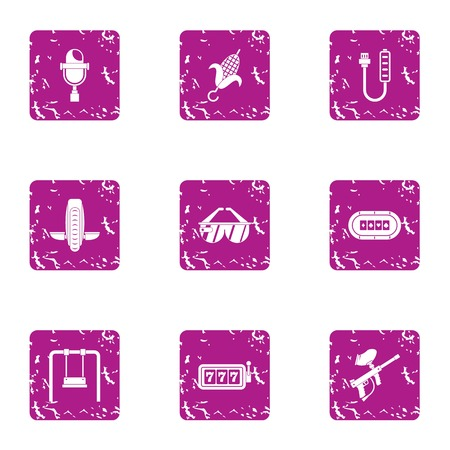 Lucky day icons set. Grunge set of 9 lucky day vector icons for web isolated on white background