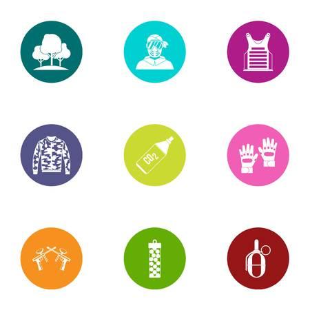 Ambuscade icons set, flat style