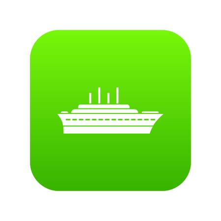 Ship icon digital green for any design isolated on white vector illustration Illustration