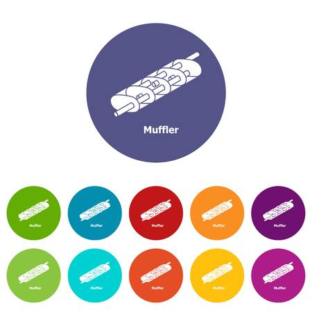 Muffler icons set vector color 版權商用圖片 - 107406561