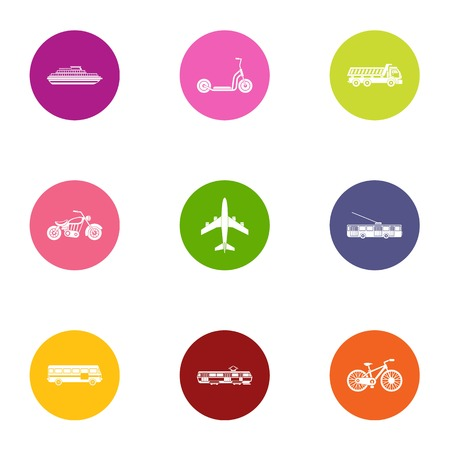 Beach transport icons set. Flat set of 9 beach transport vector icons for web isolated on white background Çizim