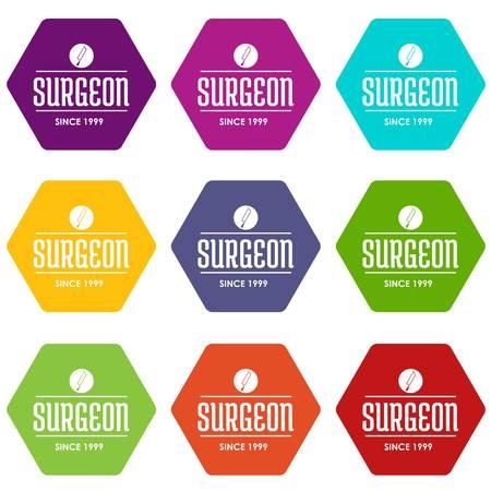 Surgeon icons set 9 vector