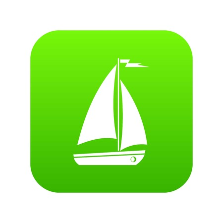 Boat icon digital green for any design isolated on white vector illustration