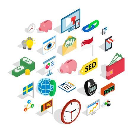 Business strategy icons set. Isometric set of 25 business strategy vector icons for web isolated on white background