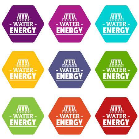 Drop water energy icons set 9 vector