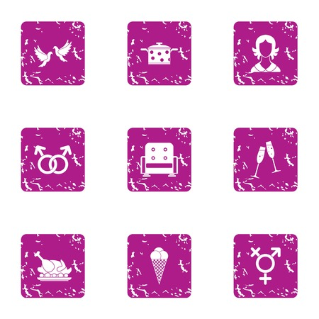 Kindred spirit icons set. Grunge set of 9 kindred spirit vector icons for web isolated on white background