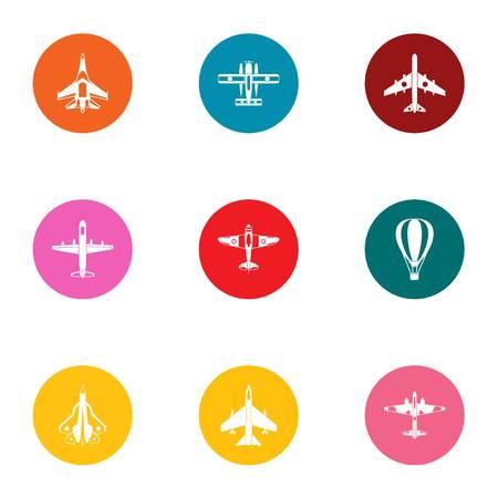 Aerofoils icons set. Flat set of 9 aerofoils vector icons for web isolated on white background