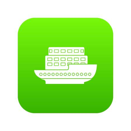 Large passenger ship icon digital green for any design isolated on white vector illustration