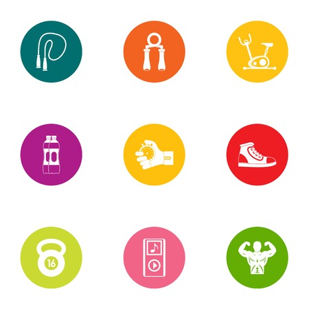 Healthy individual icons set. Flat set of 9 healthy individual vector icons for web isolated on white background