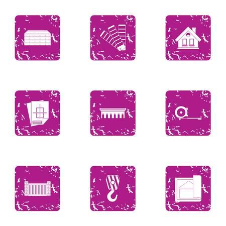 Blueprint icons set, grunge style Vettoriali