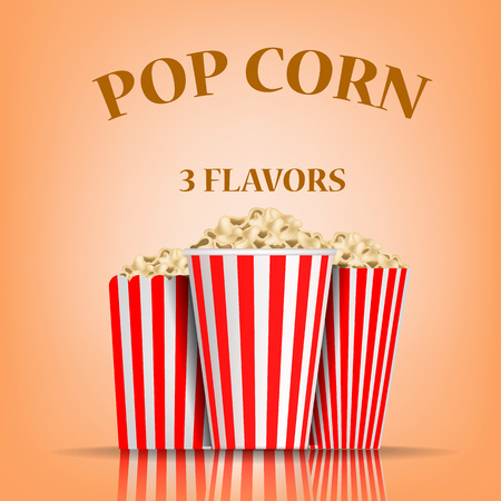 Popcorn flavors concept background. Realistic illustration of popcorn flavors vector concept background for web design