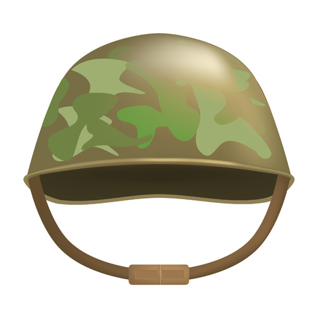 Camouflage helmet mockup. Realistic illustration of camouflage helmet vector mockup for web design isolated on white background
