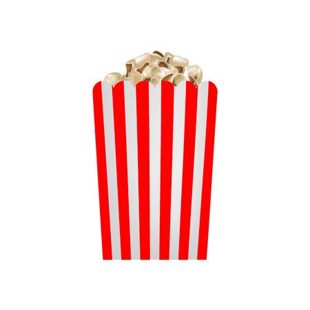 Fresh popcorn mockup. Realistic illustration of fresh popcorn vector mockup for web design isolated on white background