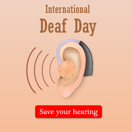 Deaf day save your hearing concept background, realistic style Vetores