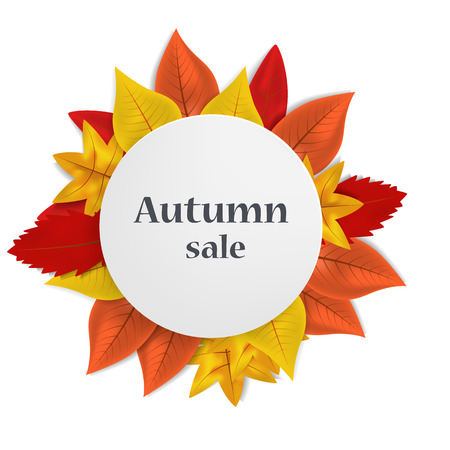 Autumn sale concept background. Realistic illustration of autumn sale vector concept background for web design
