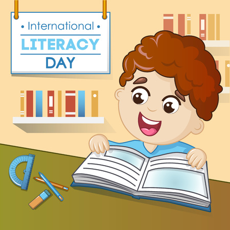 Literacy day concept background. Cartoon illustration of literacy day vector concept background for web design