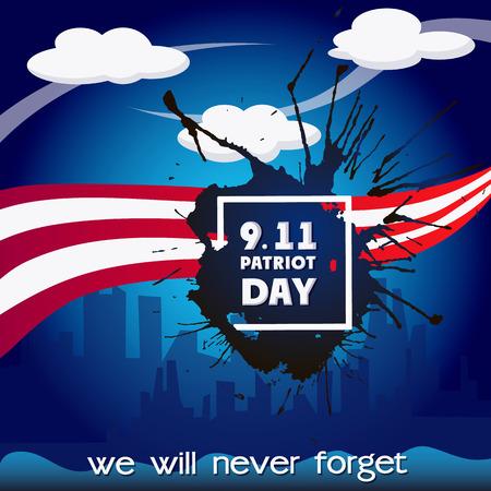 Usa patriot day concept background, cartoon style Illustration