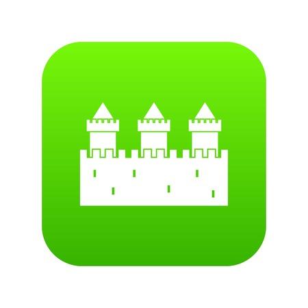 Medieval wall and towers icon digital green Illusztráció