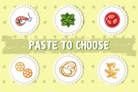 Pegue para elegir el fondo del concepto. Ilustración de dibujos animados de pasta para elegir el concepto de vector de fondo para diseño web