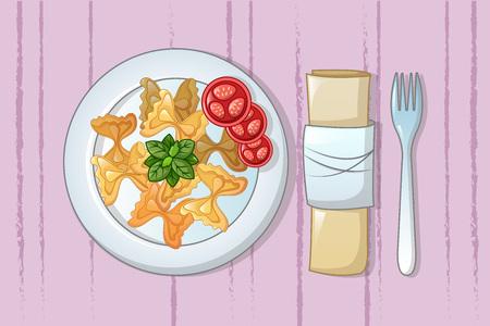 Italian pasta on plate concept background. Cartoon illustration of italian pasta on plate vector concept background for web design Illustration