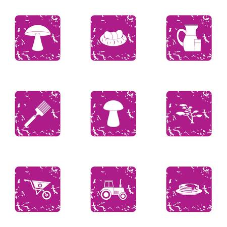 Private plot icons set. Grunge set of 9 private plot vector icons for web isolated on white background Illustration