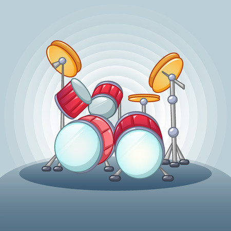 Drums set concept background. Cartoon illustration of drums set vector concept background for web design
