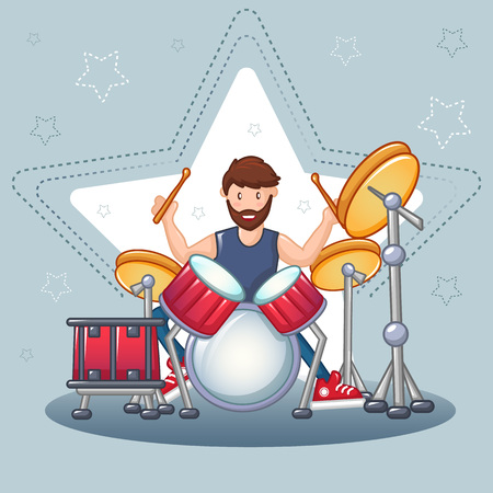Rock drummer concept background. Cartoon illustration of rock drummer vector concept background for web design Иллюстрация