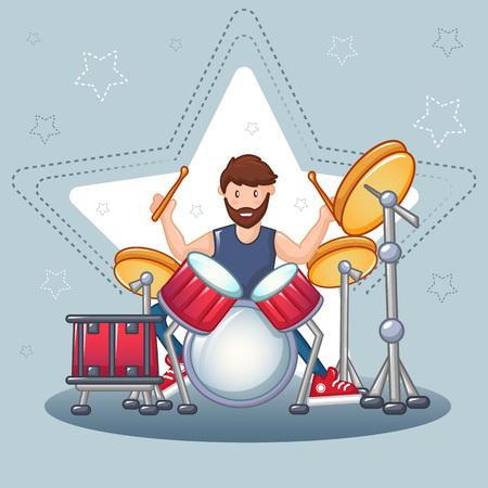 Rock drummer concept background. Cartoon illustration of rock drummer vector concept background for web design Illustration