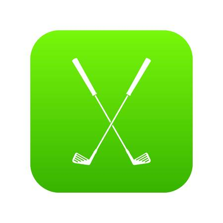 Two golf clubs icon digital green Stock Photo