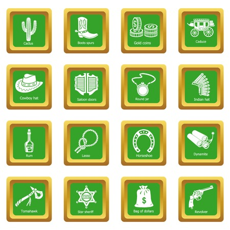 Wild west icons set green square