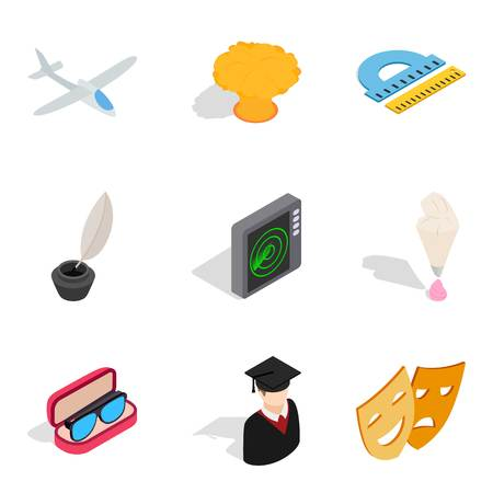 Handicraft production icons set, isometric style